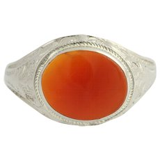 Vintage Carnelian Ring - 10k White Gold Solitaire Women's 5 3/4