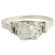 Art Deco Diamond & Syn. Sapphire Engagement Ring - 18k White Gold .52ct