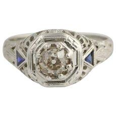 Art Deco Diamond & Synthetic Sapphire Ring - 18k White Gold Vintage .50ct