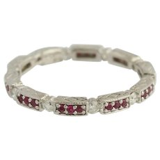 Ruby & Diamond Band 14k White Gold Eternity Ring Wedding Anniversary July .52ctw