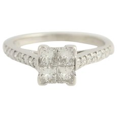 Diamond Engagement Ring - 14k White Gold Cathedral Band Cluster Setting 1 Carat