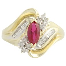 Synthetic Ruby & Diamond Bypass Ring - 10k Yellow & White Gold July 1.00ctw