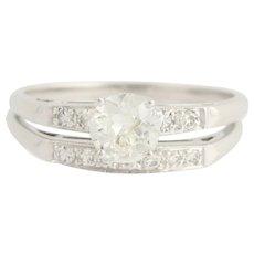 Art Deco Engagement Ring & Wedding Band Set - 14k White Gold Vintage 0.95ctw