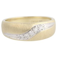 Diamond Wedding Band - 10k Yellow & White Gold Women's Ring .10ctw