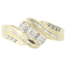 Diamond Bypass Ring - 10k Yellow & White Gold Three-Stone w/ Accents .50ctw