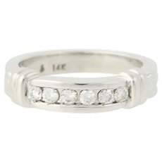 Diamond Wedding Band - 14k White Gold Women's Ring .10ctw