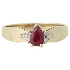 Synthetic Ruby & Diamond Ring - 10k Yellow Gold Solitaire with Accents .57ctw