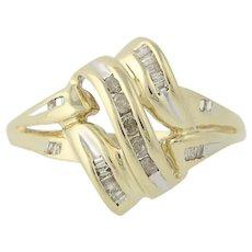 Diamond Ring - 10k Yellow Gold Size 7 1/4 Women's .10ctw
