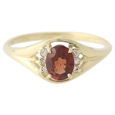Garnet Ring 10k Yellow Gold Oval Solitaire Red Gemstone Diamond Accents 0.80ctw
