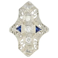 Art Deco Diamond & Synthetic Sapphire Ring -18k Gold Vintage European .33ctw