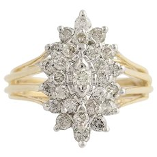 Diamond Cluster Cocktail Ring - 14k Yellow & White Gold 1.00ctw