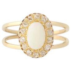 Opal & Diamond Ring - 18k Yellow Gold October Birthstone Halo Mine Cut .52ctw
