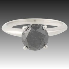 Black Diamond Engagement Ring - 14k White Gold Round Cut Solitaire 2.27ct