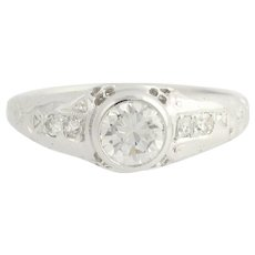 Art Deco Floral Diamond Engagement Ring Palladium Vintage 0.68ct Round