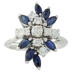 Sapphire & Diamond Cluster Cocktail Ring - 18k White Gold 2.48ctw