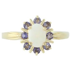 Opal & Tanzanite Ring - 10k Yellow Gold October Birthstone Halo 1.34ctw