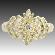 Diamond Cluster Ring - 14k Yellow Gold Baguette & Round Brilliant Cut .50ctw