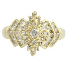 Diamond Cluster Ring - 14k Yellow Gold Baguette & Round Brilliant Cut .50ctw