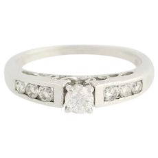 Diamond Engagement Ring - 14k Gold Cathedral Mount Round Cut .57ctw