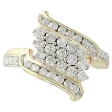 Diamond Cluster Bypass Ring - 10k Yellow Gold 1.00ctw