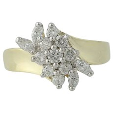Diamond Cluster Bypass Ring - 10k Yellow & White Gold Round Cut .75ctw