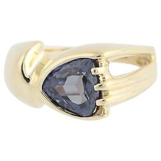 Synthetic Color Change Sapphire Ring - 10k Yellow Gold 1.90ct