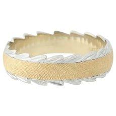 Textured Band Ring - 14k Yellow & White Gold Wedding Anniversary 8 1/4 - 8 1/2
