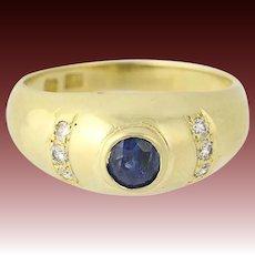 Sapphire & Diamond Ring - 18k Yellow Gold September Birthstone .54ctw