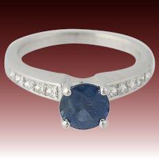 Sapphire & Diamond Engagement Ring - 14k White Gold September 1.68ctw