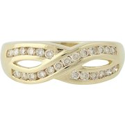 Diamond Crossover Ring - 14k Yellow Gold Champagne Brown Round Cut .50ctw