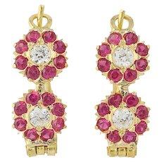 Synthetic Ruby & Cubic Zirconia Drop Earrings - 22k Yellow Gold Pierced