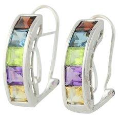 Multi-Gemstone Earrings - 14k Gold Blue Topaz Garnet Peridot Pierced 2.52ctw
