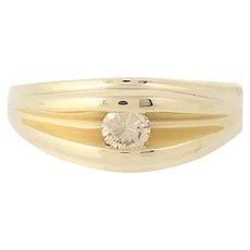 Men's Diamond Ring - 14k Yellow Gold Round Brilliant Cut Solitaire .35ct