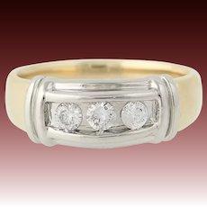 Men's Diamond Ring - 14k Yellow & White Gold Wedding Round Brilliant Cut.45ctw