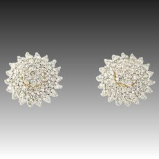 Diamond Cluster Earrings & Enhancers Set - 10k Gold Pierced Round Cut 1.50ctw
