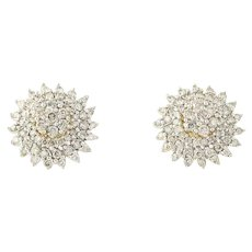 Diamond Cluster Earrings & Enhancers Set - 10k Gold Pierced Round Cut 1.50ctw