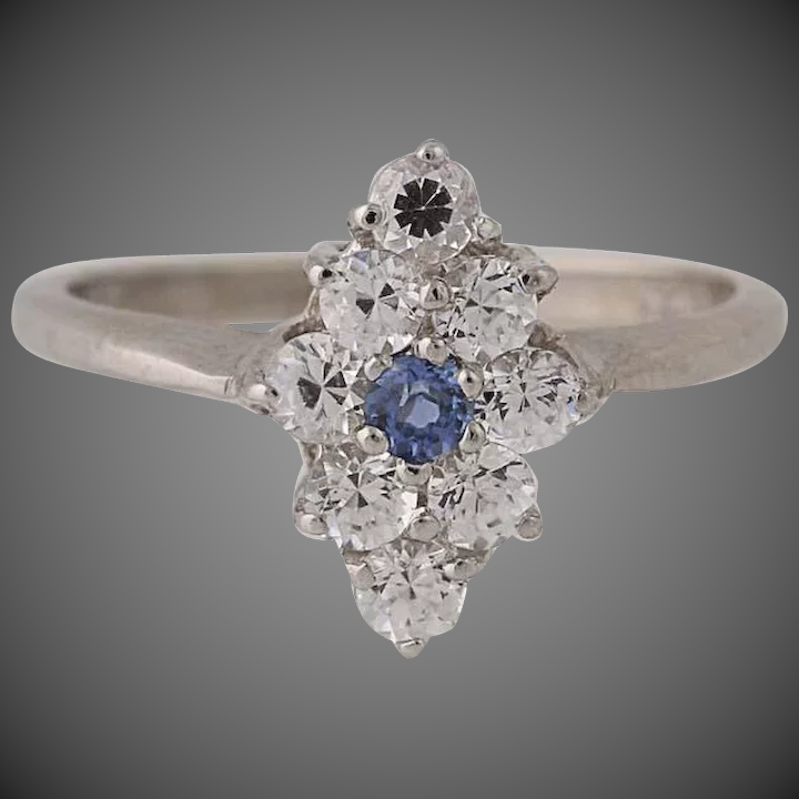 Synthetic Sapphire & Synthetic White Spinel Ring -14k White Gold Cluster  1 04ctw