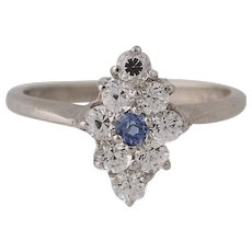 Synthetic Sapphire & Synthetic White Spinel Ring -14k White Gold Cluster 1.04ctw