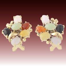 Jadeite & Onyx Cluster Earrings - 18k Yellow Gold Cabochon Cut Pierced