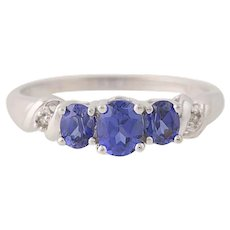 Synthetic Sapphire & Diamond Ring - 10k Gold Three-Stone Oval Brilliant .86ctw