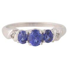 Synthetic Sapphire & Diamond Ring - 10k Gold Three-Stone Oval Brilliant .86ctw