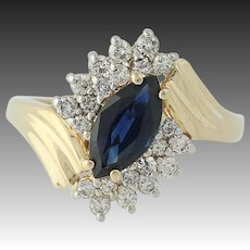 Sapphire & Diamond Bypass Ring - 14k Yellow Gold Marquise Brilliant 1.45ctw