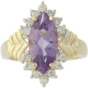 Amethyst & Diamond Ring - 14k Yellow Gold Marquise Brilliant 3.40ctw