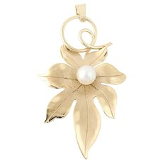 Cultured Pearl Leaf Pendant - 14k Yellow Gold Nature Textured 4mm