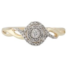 Diamond Engagement Ring -10k Gold Halo Illusion Solitaire Round Brilliant .10ctw