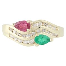 Ruby, Emerald, & Diamond Bypass Ring - 14k Yellow Gold Curved .64ctw