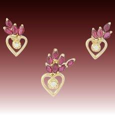 Ruby & Diamond Heart Earrings & Pendant Set - 18k Yellow Gold Pierced 3.44ctw