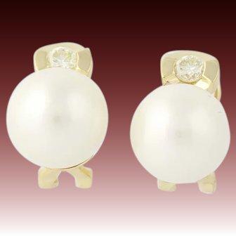 South Seas Pearl & Diamond Stud Earrings - 18k Gold Omega Backs Pierced .30ctw