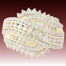 Diamond Bypass Ring - 10k Yellow Gold Size 7 Round Brilliant 1.50ctw