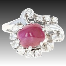 Retro Jabel Star Ruby & Diamond Bypass Ring 18k Gold Transitional Round 3.40ctw